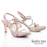 Keeley Ann時尚膠片 MIT流線修飾腳背粗跟涼鞋(粉紅色)