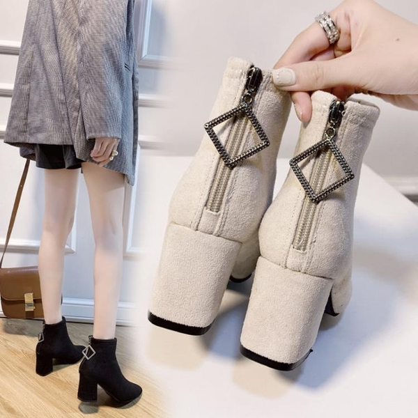 粗跟女靴2021新款冬季時尚尖頭后拉鏈高跟短靴女英倫風百搭瘦瘦靴 3C數位百貨