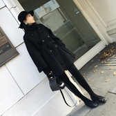 現貨長版大衣風衣流行大衣秋冬季中長版新品赫本風毛呢外套女正韓呢子學生女裝推薦
