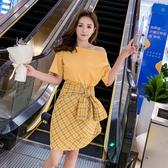 出清388 韓系一字領T恤系帶格子半身裙套裝短袖裙裝