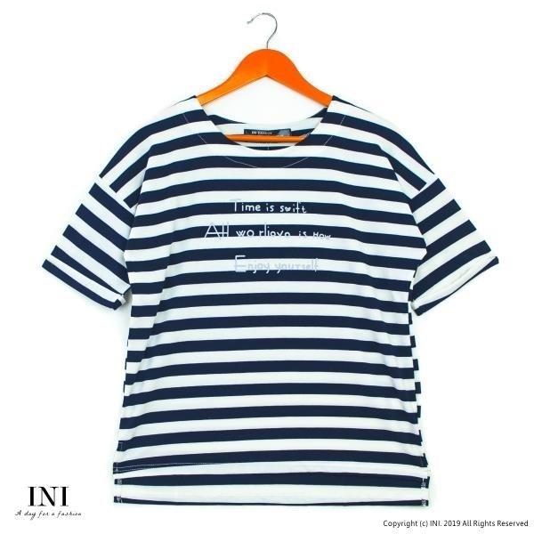 【南紡購物中心】【INI】活力穿搭、休閒品味色調條紋上衣.深藍色