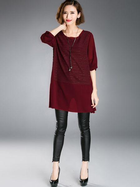 中大尺碼上衣 顯瘦A字版型長款拼接上衣 2色 XL-5XL #lg8102 ❤卡樂store❤
