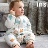 嬰兒夾棉加厚睡袋純棉針織款寶寶分腳式兒童小童防踢被 全館免運