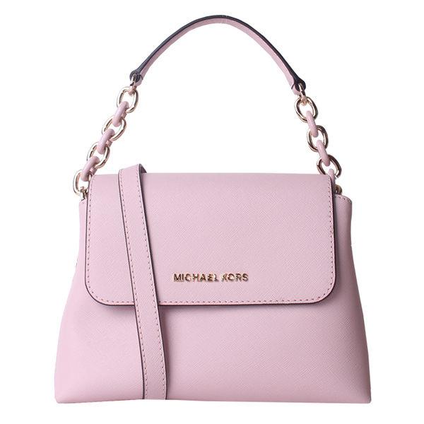 【MICHAEL KORS】專櫃款PORTIA 質感鍊帶防刮皮革手提/斜背包(淺粉色)