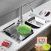 水槽 304不銹鋼廚房水槽雙槽 一體成型加厚手工洗碗池洗菜盆 JD【美物居家館】