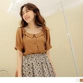 《AB15598》純色觸膚涼感翻領排釦泡泡袖上衣 OrangeBear