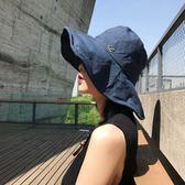 棉麻遮陽帽漁夫帽女夏天大檐盆帽防曬帽可摺疊文藝造型禮帽子【快速出貨】