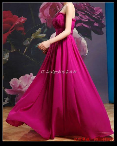 (45 Design) 訂做款式7天到貨   敬酒服長款紫色齊地 新娘結婚伴娘禮服晚裝顯瘦