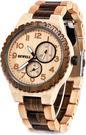 Bewell【日本代購】復古懷舊木錶 男士石英錶 日本機芯 - 楓木+烏木