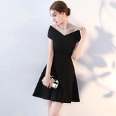 宴會禮服 黑色小禮服女晚禮服洋裝氣質名媛宴會生日派對洋裝顯瘦短款夏季