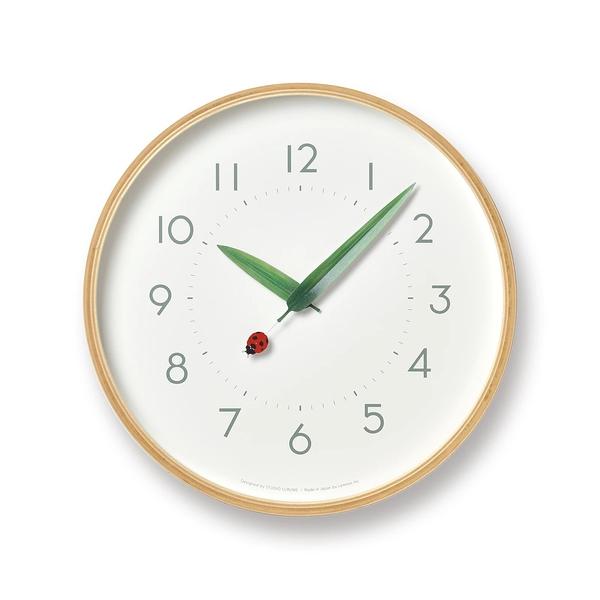 日本 Lemnos Perch Tento Wall Clock 25.4cm 巧合系列 北海道原木 時鐘 - 瓢蟲