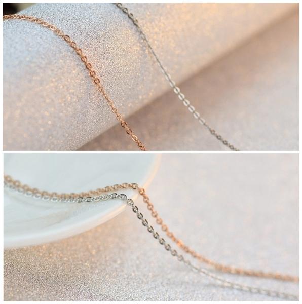 316L醫療鋼項鍊 1mm極細O 型立體圓鏈 純鏈子-銀、玫瑰金 防抗過敏 不退色