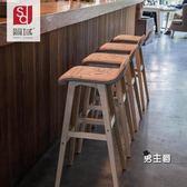 吧台椅簡域曲木吧台椅子創意酒吧椅歐式吧台凳吧椅簡約復古吧凳高腳凳子XW(1件免運)