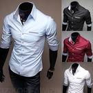 男裝 韓版修身男士襯衣 時尚短袖襯衫 Eimo