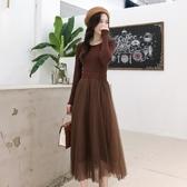 短袖洋裝 女裝 裝法式復古網紗裙山本超仙打底裙子修身針織短袖洋裝 鉅惠85折