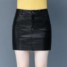 高腰皮裙女士包臀皮短裙2021年新款韓版時尚百搭減齡半身裙潮 快速出貨