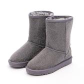 MICHELLE PARK 華麗冬季 平口滿版水鑽中筒雪靴-灰
