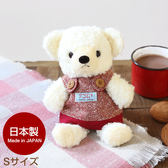 Hamee 日本製 手工原創商品 紅色吊帶裙 絨毛娃娃 玩偶禮物 泰迪熊 (奶油色/S) 640-110404