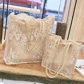 蕾絲包女2018新品手提包購物袋正韓托特包復古刺繡單肩包女包手袋