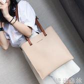 女包包日韓版時尚潮托特包簡約百搭撞色手提包單肩包大包 綠光森林