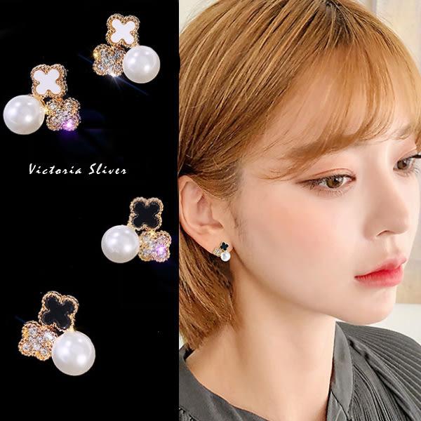 925純銀針  韓國優雅氣質 幸運四葉草珍珠  耳環-維多利亞190411