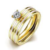 鈦鋼戒指 鑲鑽-時尚精緻雙層套戒生日情人節禮物男飾品73le182[時尚巴黎]