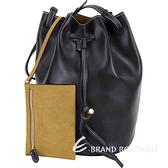 Stella McCartney 明線車縫附萬用包手提/肩背水桶包(黑色) 1840419-01