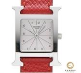 【雪曼國際精品】HERMES H-OUR經典H小型銀框款時尚腕錶紅色錶帶30x21mm~二手商品(9成新)