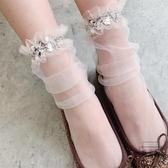 3雙裝 薄款亮片網紗堆堆襪韓版閃閃仙女襪子
