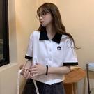 短袖POLO衫 polo衫短款短袖t恤女寬鬆潮ins原宿風chic港味設計感小眾半袖上衣