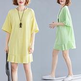 洋裝 中大尺碼女裝 2021年夏季新款文藝大碼寬鬆顯瘦圓領休閑T恤純色連身裙胖mm