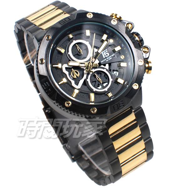 T5 sports time 三眼大錶徑 個性 潮男 學生錶 防水手錶 日期視窗 IP黑x金 H3705金黑
