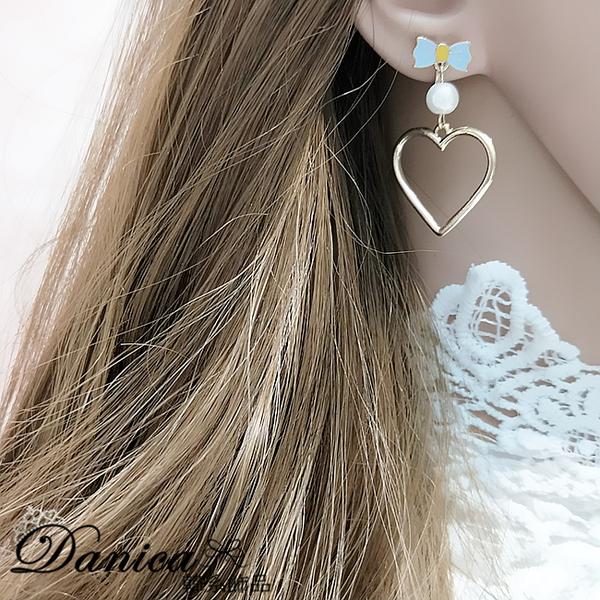 現貨 韓國夢幻少女愛麗絲蝴蝶結愛心珍珠不對稱垂墜耳針 夾式耳環 S93050  批發價 Danica 韓系飾品