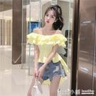 2019夏季新款韓版設計感小眾露肩一字領荷葉邊前短後長襯衫上衣女