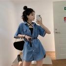 夏裝2021新款牛仔襯衫裙子韓版氣質寬鬆系帶短袖洋裝女潮配腰帶 【端午節特惠】