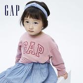 Gap女幼童 Logo純棉圓領長袖T恤 731856-粉色