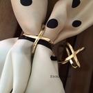 高檔絲巾扣環歐美鈦鋼H真絲圍巾扣...