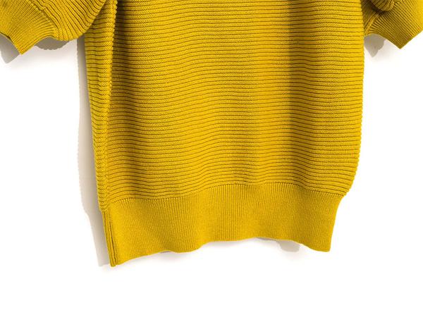 秋冬下殺↘5折[H2O]可露肩兩穿復古風五分泡泡袖針織線衫 - 紅/黃/白底黑條色 #9630014
