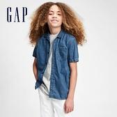 Gap男童 復古純棉短袖牛仔襯衫 669893-中度水洗