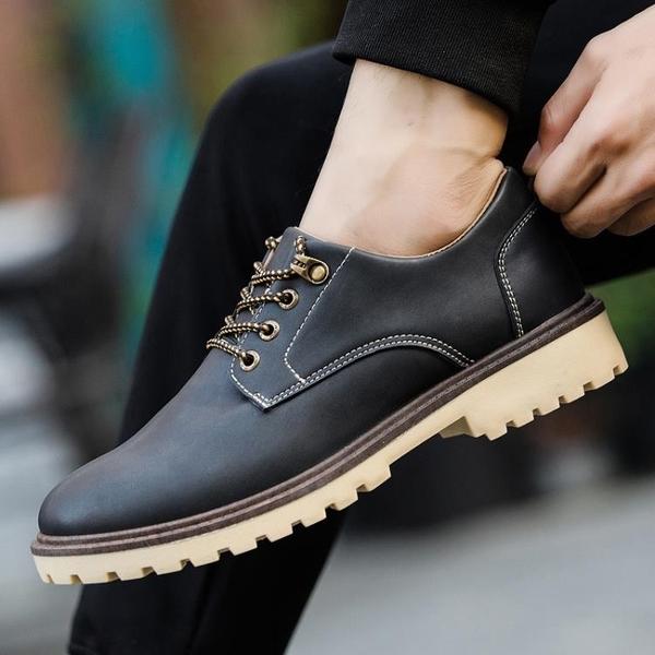 男鞋春季新款2019英倫男士百搭皮鞋時尚休閒鞋駕車商務鞋潮單短靴