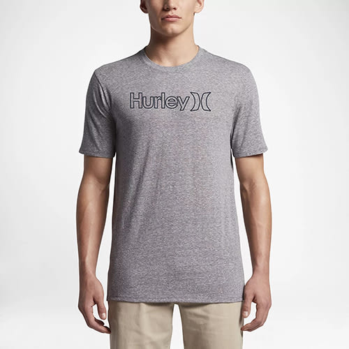 Hurley ONE & ONLY OUTLINE TRI-BLEND T恤-灰(男)