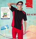 【瑪蒂斯】夏日防曬抗UV時尚男款短袖排汗POLO衫 p879(黑/紅)