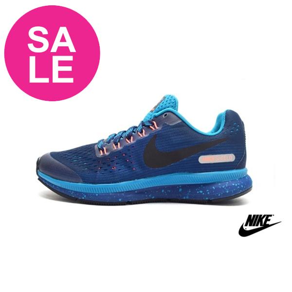 NIKE慢跑鞋 潑墨 抗水功能 Zoom Pegasus34Shield (GS) 大童鞋 零碼出清O7015#藍色◆OSOME奧森鞋業