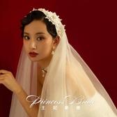 新娘頭紗 新娘復刻自制款新娘寫真vintage復古韓式簡約仙女頭紗 莎拉嘿呦