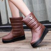 中筒靴 棉鞋女2018新款短靴加厚雪地靴加絨中筒保暖靴休閒防水冬靴大碼 CP864【棉花糖伊人】