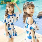 兒童泳衣 兒童泳衣女 中大童泳衣連體裙式平角泳裝小童寶寶游泳衣泳裝  一件免運