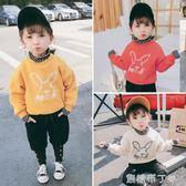 女童洋氣連帽T恤冬季新款兒童加絨加厚長袖寬鬆上衣寶寶保暖外套 焦糖布丁