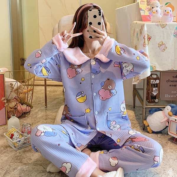 *ORead* 純棉雙面棉睡衣加厚家居服套裝(紫色M~2XL)