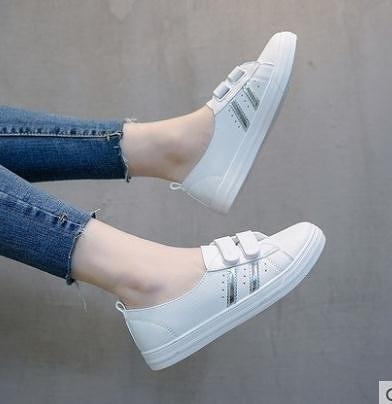 小白鞋2021春季新款淺口單鞋一腳蹬懶人小白女鞋春夏季百搭平底板鞋春款快速出貨