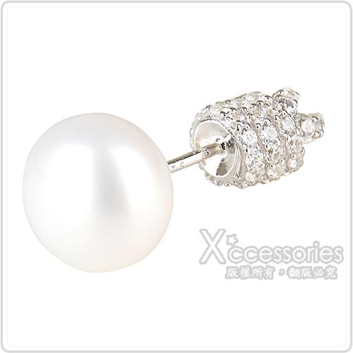 apm MONACO PURE系列晶鑽鑲飾結繩設計珍珠單只純銀耳環(銀)
